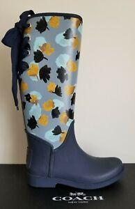COACH TRISTEE CLASSIC FLOWER PRINT LACE UP CORSET LOGO RAIN BOOTS 7 8 LOVE SHOES