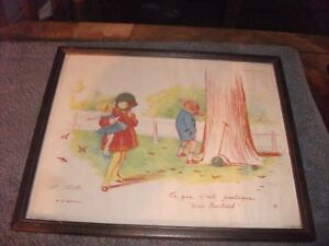 """Humourous vintage antique print """"Ce que c'est pratique"""" 1928 by Georges Redon"""