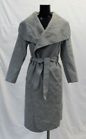 Boohoo Women's Belted Shawl Collar Coat CK6 Grey One Size NWT