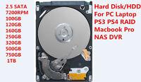 120GB 160GB 250GB 320GB 500GB 750GB 1TB 7200 RPM 2.5 SATA Laptop Hard Disk HDD