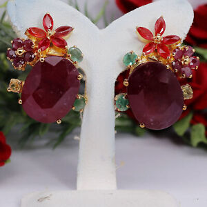NATURAL 13 X 17 mm. RED RUBY, SAPPHIRE & EMERALD EARRINGS 925 STERLING SILVER