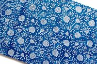 3 Yards Cotton Running Dye Natural Hand Block Print Voile Fabric Sewing Material