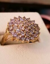 Ross Simons 18k Yellow Gold Vermeil sterling silver Tanzanite cluster Ring