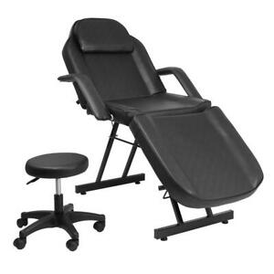 "75"" Portable Massage Table Chair Tattoo Parlor Spa Salon Facial Bed With Stool"