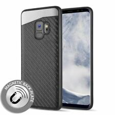 For Samsung Galaxy S9 Black Carbon Fiber Hybrid Magnetic Back Plate Case Cover