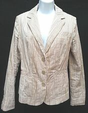 CAbi Womens M Beige White Check Pleats Career Casual Cotton Jacket Coat Blazer