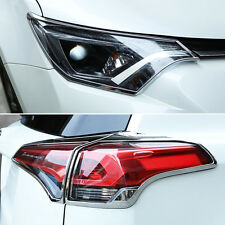 Fit For 2016- Toyota RAV4 Chrome Front Rear Headlight Tail Light Lamp Cover Trim