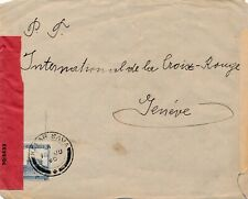 LETTRE CENSURE KAFAR SAVA PALESTINE GENEVE CROIX ROUGE COVER BRIEF WAR