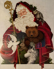 Wow Large Cross Stitch Picture On Linen Santa Claus Woodland Animals Complete