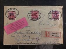 1921 Danzig Germany  cover to Niederglobnitz Overprinted Airmail Stamps