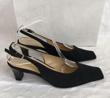 LK Bennett Talla 36 Darnell Inteligente De Tela Negro Cuero Slingback zapatos/sandalias &