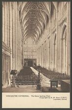 WINCHESTER CATHEDRAL Nave 1914 Sepia Duotone Heliotype PC by A.W. Kerr UNUSED