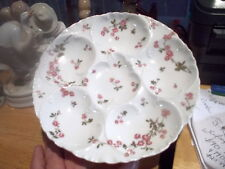 Rare Set of 12 Matching Antique Haviland Limoges 6 Well Oyster Plates-Pink Roses