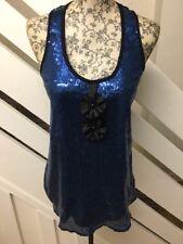RIVER ISLAND Scarlet Blue Sequin Top Lace Lace Back Vest Part Top  Size 8 UK