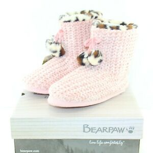 BEARPAW JOSEPHINE NW women's pull on slipper booties shoes size 7-8 M pink NEW