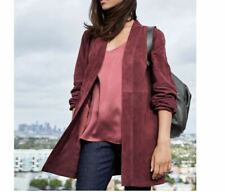 73848596509 Eileen Fisher Burgundy Soft Suede Open Front Kimono Long Jacket Plus Size 1X