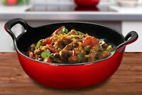 Enameled Cast Iron Balti Dish With Wide Loop Handles Cookware 5 Quart, Fire Red