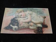 1800's Hoyts German Cologne Perfume Girl w/ Dog Victorian Trade Card