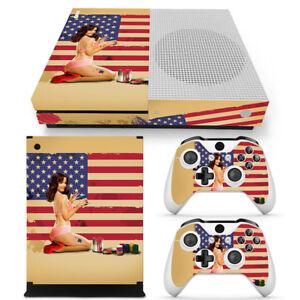 Xbox One S Console Skin Decal Sticker USA Flag Girl  + 2 Controller Custom Set