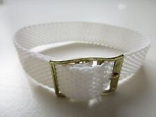 plated buckle ~ 15 mm Fiber military 80's white watch band