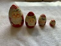 Wooden Nesting Santa 4 Pieces 4 Inches Tall