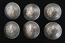 "(6) LIBERTY ""V"" NICKEL CONCHO / BUTTONS (tails)   1021A"