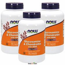 3 X NOW Foods Glucosamine Chondroïtine Plus Msm 180 Caps Joint Santé Fabriqué En