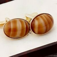 Vintage - 1970s CZECH Brown Tiger Eye Glass - Oval Gold Plated Cufflinks