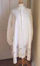 Eskandar - Sz 1 White Delicate Floral Feminine Linen Long Tunic Top Dress