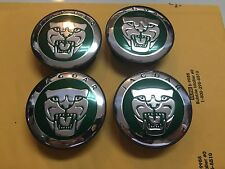 NEW JAGUAR SET OF 4 GREEN JAG WHEEL HUB CAPS LOGO RIM 59MM COVER EMBLEM CAP 4PC