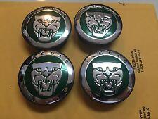 NEW JAGUAR SET OF 4 GREEN JAG WHEEL HUB CAPS LOGO RIM 59MM COVER EMBLEM CAP 4PC