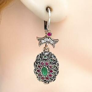Deco 1.60ctw Emerald, Ruby & Diamond Cut Sapphire 14K Yellow Gold 925 Earrings