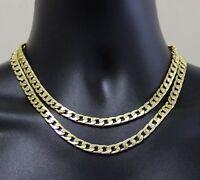 "2pc Choker Set Cuban Link Chain 7mm 14k Gold Plated Hip Hop 16"" 18"" Necklaces"