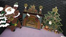 3 x Vintage Christmas Window Sun catchers  Retro Kitsch Decorations