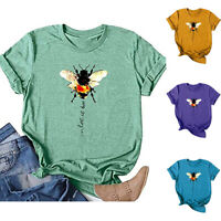 Womens Holiday Ladies T Shirt Blouse Loose Bee Tee Pullover Summer Casual Tops