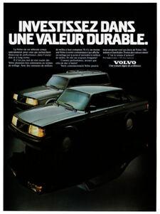 1987 VOLVO 240 Vintage Original Print AD - Black car photo French Canada Sedan