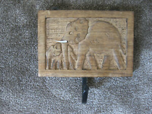 wooden hand carved elephant clothes hook from Africa