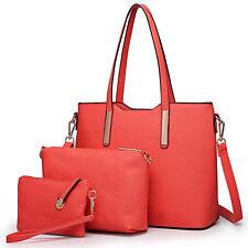 Womens Designer PU Leather Shoulder Handbag 3pcs Celebrity Tote Bag Large