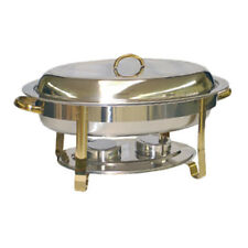 Thunder Group 6 Qt Oval Stainless Steel Chafer w/ Gold Accent Handles