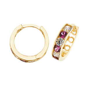 Yellow Gold Ruby Huggie Earrings Hoops 11mm British made Hallmarked
