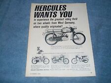 "1965 Hercules Vintage Motorcycle Ad ""Hercules Wants You"" K-50 K-175-GS K-103-S"