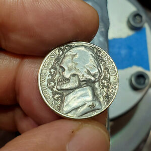 Hobo Nickle Hand Engraved Sculpted by Darren Burrows (me)1966 Skull