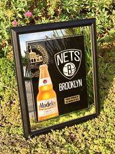 "Brooklyn Nets Modelo Beer Cerveza  NBA Basketball Bar Man Cave Pub Mirror ""New"""