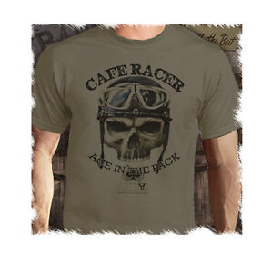 Cafe Racer Ace Classic Bikes  Vintage Retro Biker Printed Putty T-Shirt