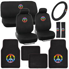 15pc Peace Seat Cover and Plush Carpet Floor Mat Full Auto Set by BDK