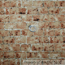 BonEful Fabric FQ Quilt Brown Clay BRICK Wall Real Photography Texture Back*drop