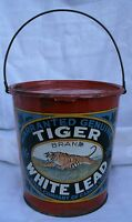 Original Tiger White Lead Paint Metal Bucket / Can Canada Antique Advertising