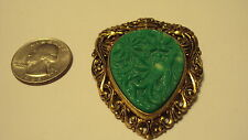 Vintage Hidden Dragons Pagoda Phoenix Chinese Faux Jade Pin Brooch Pendant