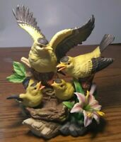 VINTAGE LEFTON GOLD FINCH FAMILY W/ BABIES & PINK LILLY PORCELAIN FIGURINE.....