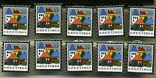 Lot of 10 Christmas pins X-mas Snowy Village USPS Stamp Replica Greetings USA 22